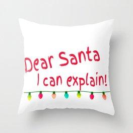 Dear Santa I Can Explain Christmas Lights Throw Pillow