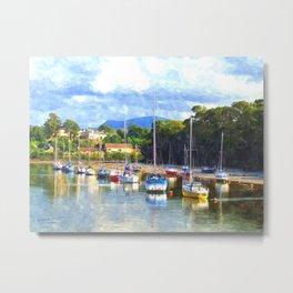 Boats in Harbour, Caernarvon Metal Print