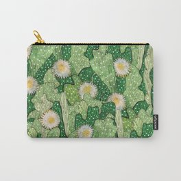 Cacti Camouflage, Succulent Bloom Floral Pattern Paper Collage Green White Carry-All Pouch