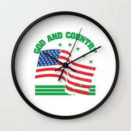 Waving American Flag With The Quote For God & Country T-shirt Design Jesus Faith America Usa  Wall Clock