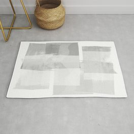 "Grey and White Minimalist Geometric Abstract ""Building Blocks"" Rug"