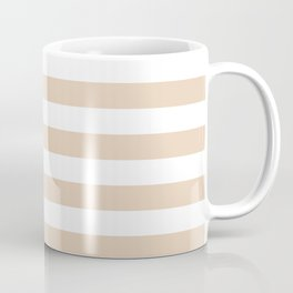 Narrow Horizontal Stripes - White and Pastel Brown Coffee Mug