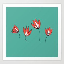 Whimsical Red and Teal Flowers by Emma Freeman Designs Art Print