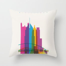 Shapes of Pittsburgh. Accurate to scale Throw Pillow