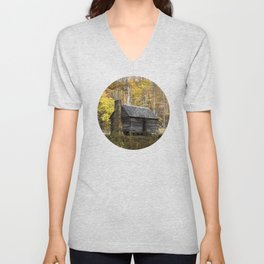 Smoky Mountain Rural Rustic Cabin Autumn View Unisex V-Neck