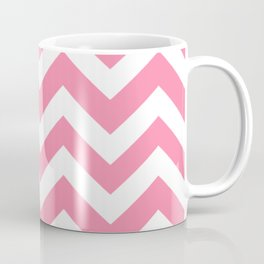 Tickle Me Pink - pink color - Zigzag Chevron Pattern Coffee Mug