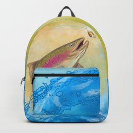 End Of The Line // Rainbow Trout Jumping Out Of Splashing Water // With Lure at Sunset // Fish On! Backpack