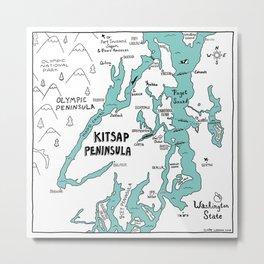 Kitsap Peninsula Illustrated Map Metal Print