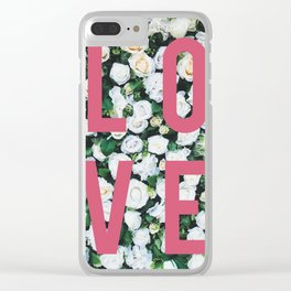 LOVE White Rose Floral Poster Clear iPhone Case
