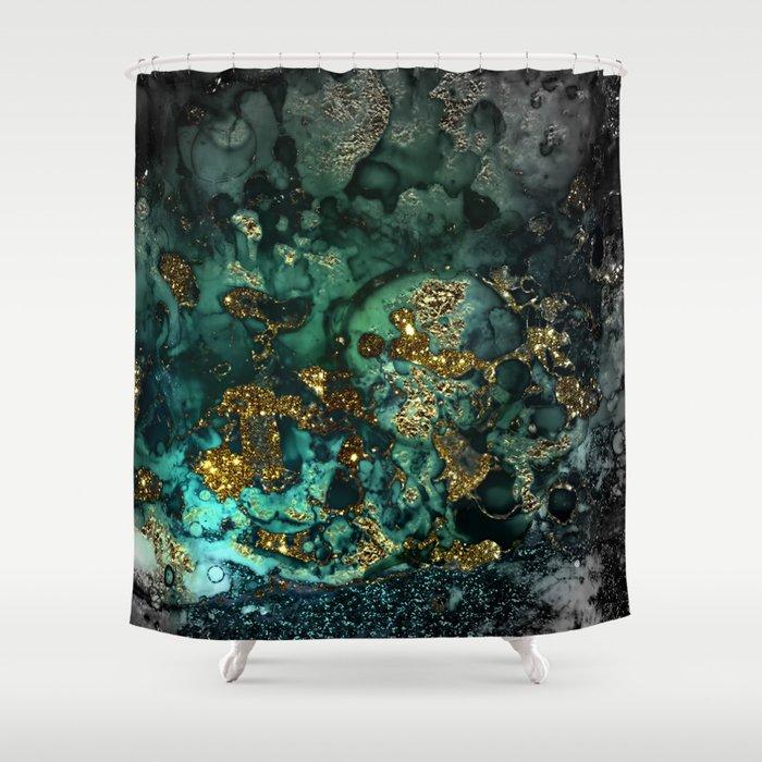 Gold Indigo Malachite Marble Shower Curtain