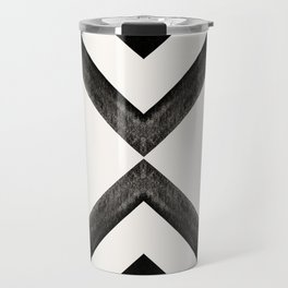 Converging Triangles Black and White Moroccan Tile Pattern Travel Mug