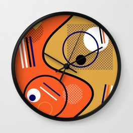 Opposing Sides - Abstract, orange and mustard, geometric, contrasting design Wall Clock