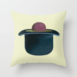 A single plum floating in perfume served in a man's hat. Throw Pillow