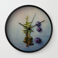 Fern and Blueberries Wall Clock