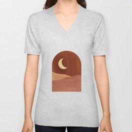 Terracotta night, abstract landscape, moon and desert Unisex V-Neck