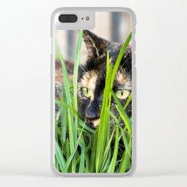 Cat in grass Clear iPhone Case