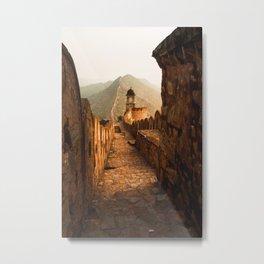 Brown Stone Pathway Viewing Mountain Metal Print