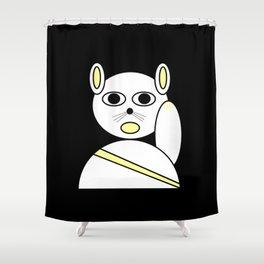 Maneki neko white Shower Curtain