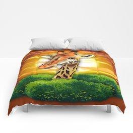 Giraffe on Wild African Savanna Sunset Comforters