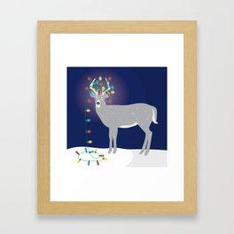 The Silver Deer with Chritmas Lights Framed Art Print