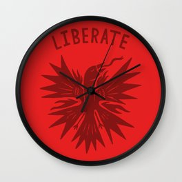 phoenix liberate crest x typography Wall Clock