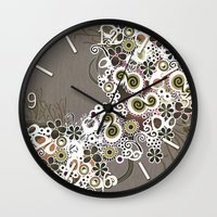 Diagonal flower – brown and olive green fiber Wall Clock