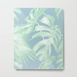 Tropical Leaves Luxe Pastel Sea Turquoise Blue Green Metal Print