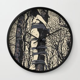 Dirty outdoors fetish games, ropes fun in deep forest, BDSM erotic artwork, tied slave girl Wall Clock