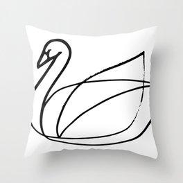 Swan, Brushed Ink Throw Pillow