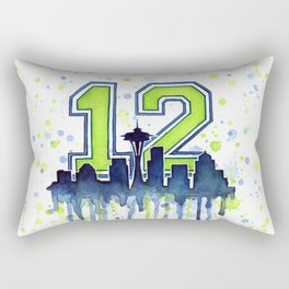 Seattle Skyline Space Needle 12th Art Rectangular Pillow
