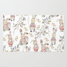 Cute Easter Bunnies with Watercolor Flowers,Sprigs and Leaves Rug