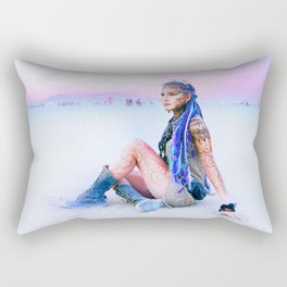 Burning Man sunset Rectangular Pillow