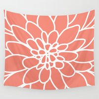 dahlia Wall Tapestries featuring Coral Modern Dahlia Flower by AleDan