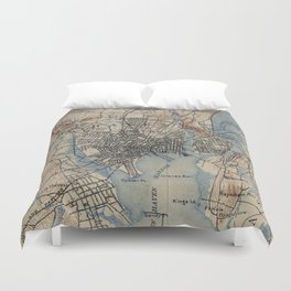 Vintage Map of New Haven Connecticut (1890) Duvet Cover