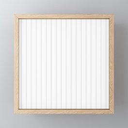 White and Grey Vertical Stripes Framed Mini Art Print