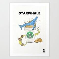 Starwhale loves coffee Art Print