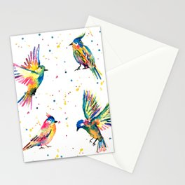Four Colorful Birds Stationery Cards