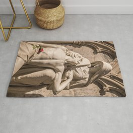 Compassion ~ Photo Of Jesus And Mary Pieta Sculpture Rug