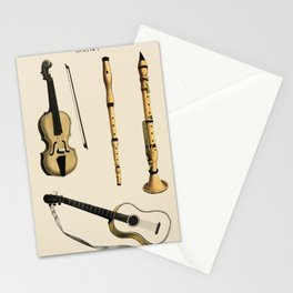 Musik (1850) published in Copenhagen, a vintage illustration of a violin, classical guitar and flute Stationery Cards
