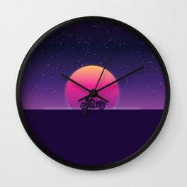 80s Retro Sunset Bike Wall Clock
