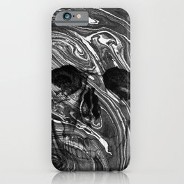 Black marble skull iPhone Case