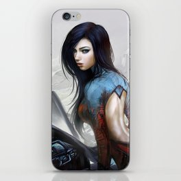 Hot girl on motorcycle iPhone Skin
