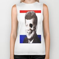 jfk Biker Tanks featuring JFK SKULL PORTRAIT by Joedunnz