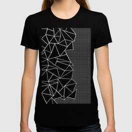 Abstract Grid Outline White on Black on Side T-shirt