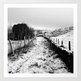 Snowy Country Lane Art Print