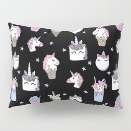 magical unicorn foods cakes cupcakes icecream cones with unicorns Pillow Sham