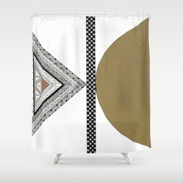 Geometric Shapes with Gold, Copper and Silver Shower Curtain