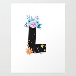 Letter L - Botanical English Alphabet, Name Initial Art Print