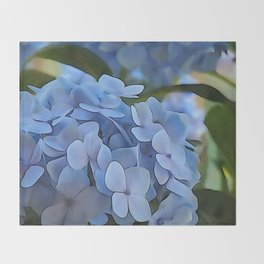 Periwinkle Hydrangea Throw Blanket