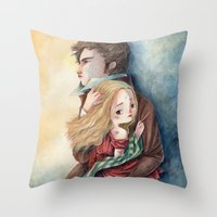 les miserables Throw Pillows featuring les miserables by Fabiana Attanasio
